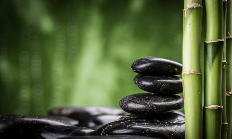 45324225 - zen basalt stones and bamboo
